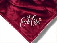 Personalized Monogrammed Throw Blanket W/ Embroidery Mr. & Mrs. Theme