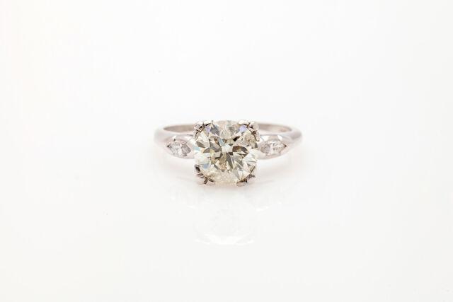 Antique 1950s $25,000 2.33ct Round Brilliant Diamond Platinum Wedding Ring