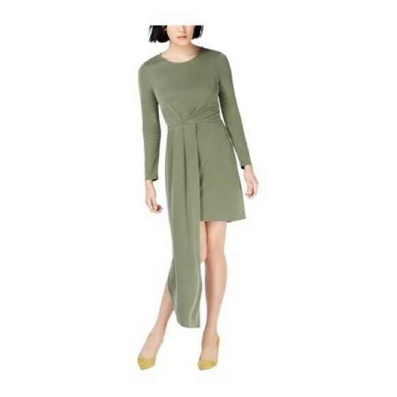 NWT Bar III Womens Asymmetrical Long Long Long Sleeve LS Dress Olive Green Size Medium 165ddf