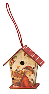 Vintage-Christmas-Tree-Decoration-Miniature-Wooden-Vintage-Bird-house-HW152