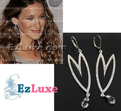 hollywood celebrity designer Cubic Foxy Long Heart Earrings