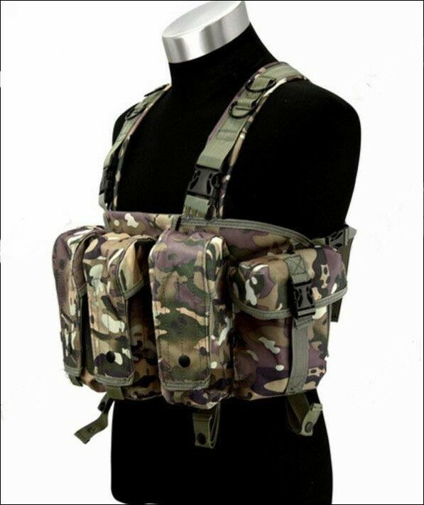 Tactical Assault Chest Vest with Mag Pouches Multicam UK SELLER