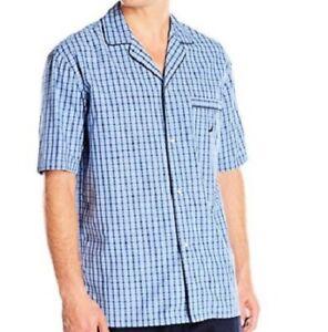 d07575de2e NAUTICA Men s Woven Blue Plaid Sleepwear Sleeping Camp Shirt Top ...