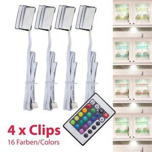 4-LED-Clips-RGB-Glasboden-Beleuchtung-Glaskantenlichter-Leuchten-Vitrine-Schrank
