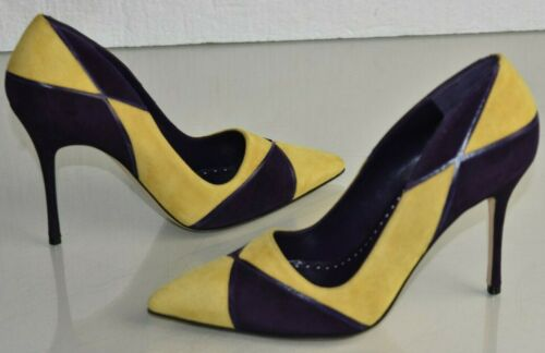 New Manolo Blahnik NELLA 105 BB Yellow Purple Suede Pumps Heels Shoes 37 41