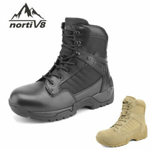 Men/'s Military Tactical Work Boots Side Zipper Leather Ankle-high Combat Bootie