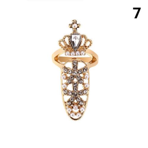Women Pretty Bowknot Nail Ring Charm Crown Flower Crystal Finger Nail Rings SG