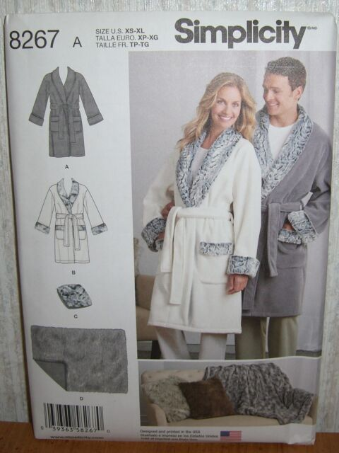 c55a075871 Womens Misses   Mens Robes Blankets Sewing Pattern Simplicity 8267 SZ XS-