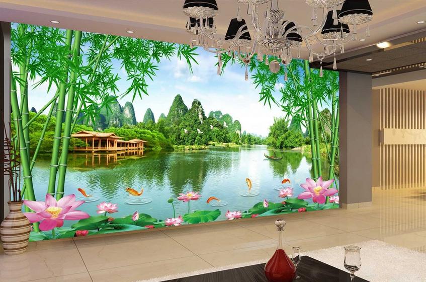 3D Lotus Berg Fische 83 83 83 Tapete Wandgemälde Tapete Tapeten Bild Familie DE Summer | Sale Deutschland  | Elegante Und Stabile Verpackung  36d56e