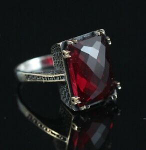 925-Sterling-Silver-Handmade-Authentic-Turkish-Ruby-Ladies-Ring-Size-7-9