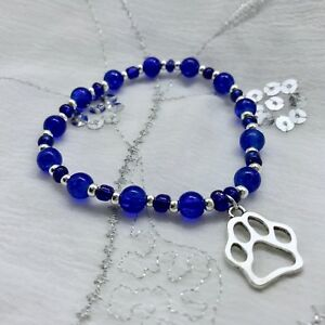 New-Dog-Paw-Print-Charm-Bracelet-Stretch-Royal-Blue-Memorial-Pet-Loss