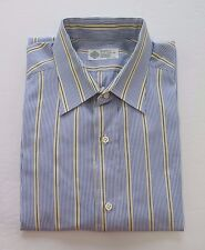 Luigi Borrelli Cotton Blue Striped Dress Shirt 15 3/4 Medium Hand Made in Italy