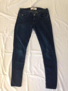 Hollister-Women-039-s-Stretch-Denim-Dark-Wash-Skinny-Leg-Jeans-Size-5R