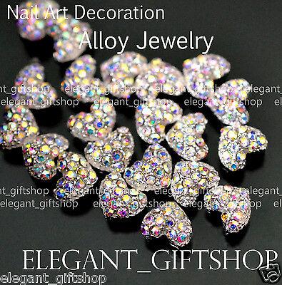 #EA066 10pcs 3D Heart Glitter Multicolor  Alloy Jewelry Nail Art Tips Decoration