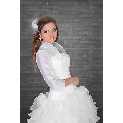 Wedding Bridal Ivory White Organza Bolero/Shrug/Jacket  S M L XL XXL XXXL