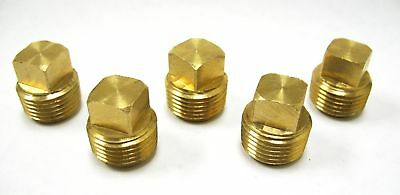 "Pack of 10 New Brass Pipe Square Head Plug Fittings 1//4/"" Male NPT Air Fuel Boat"