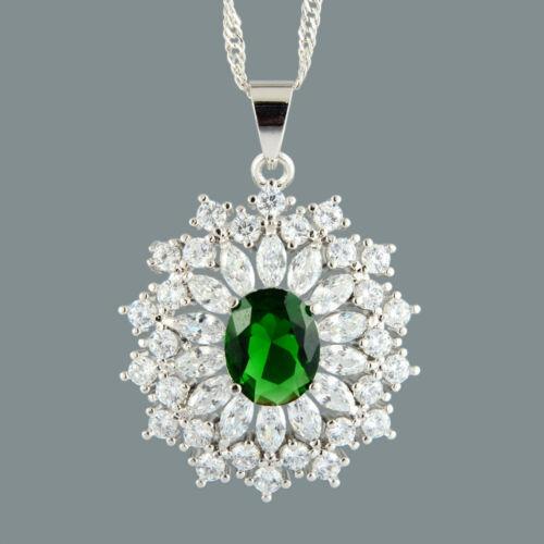 Ovale Vert Émeraude 18K or blanc plaqué Diapositive Collier pendentif gourmette en