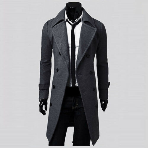 2018 Winter Mens Slim Stylish Trench Coat Thick Double Breasted Long Jacket US