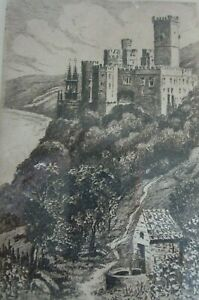 ORIGINAL-OLD-ETCHING-GERMANY-CASTLE-AND-RIVER-SIGNED