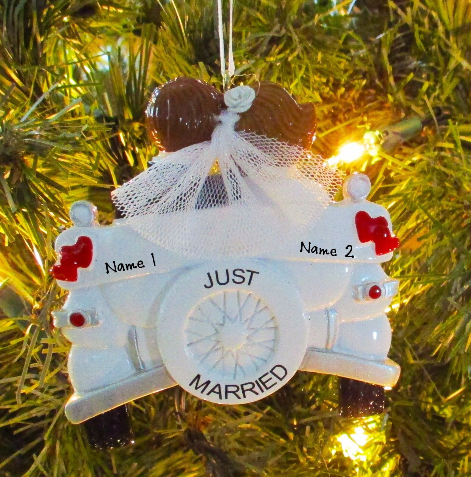 Personalized Vintage Just Married Wedding Christmas Tree Ornament ...