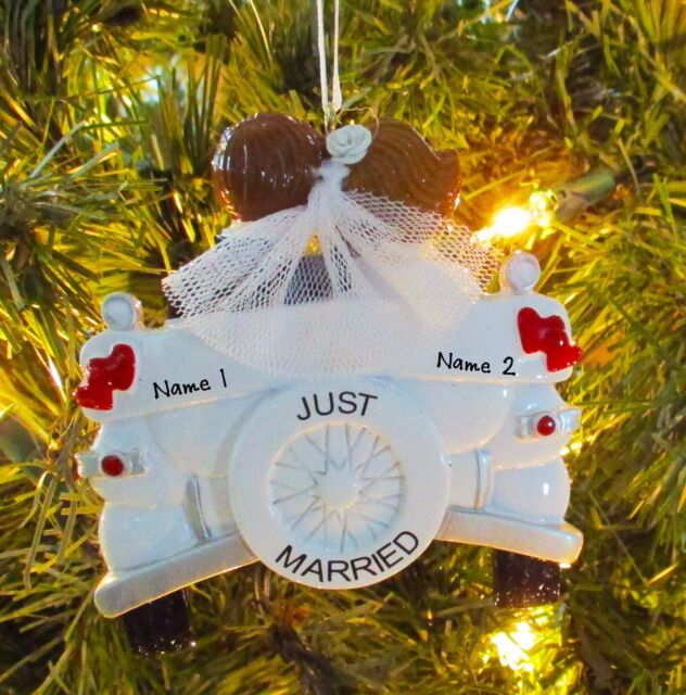 Personalized Vintage Just Married Wedding Christmas Tree ...
