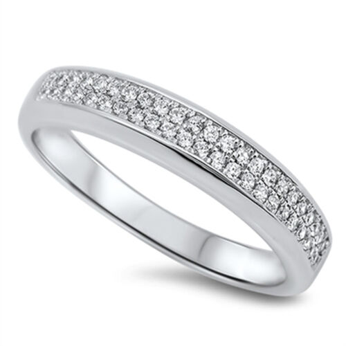 Wedding Band White CZ Cluster Promise Ring New .925 Sterling Silver Sizes 5-10