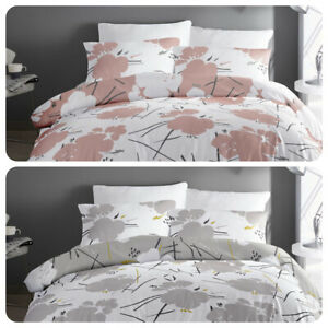 Dreams-amp-Drapes-Bedding-Set-Geometric-Floral-Easy-Care-Duvet-Cover-Pink-Grey