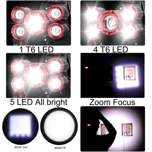 Headlamp 350000LM Zoom T6 LED Flashlight Headlight Rechargeable Torch Work Light