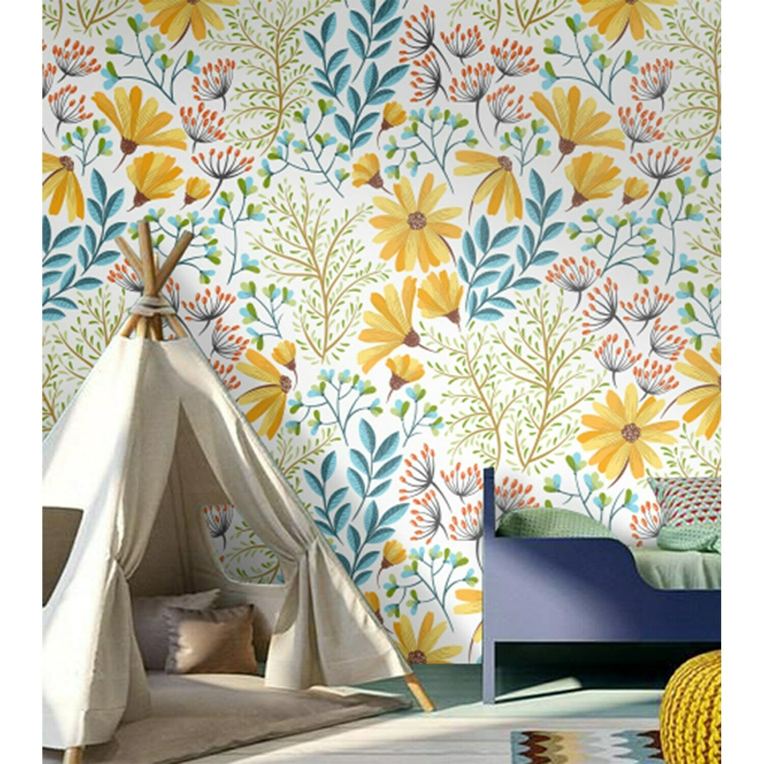 Removable wallpaper bohemian spring floral Stylish Vintage style