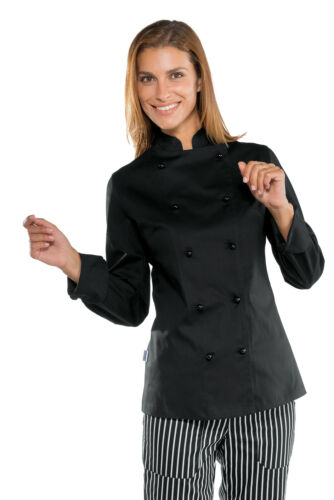 GIACCA CUOCA CHEF DONNA LADY SUPER STRETCH NERO ISACCO MADE IN ITA WOMAN JACKET