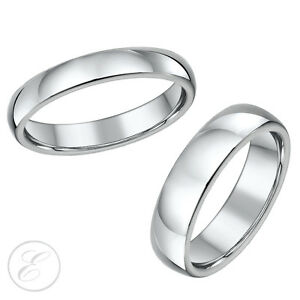 Titanium-Wedding-Rings-His-amp-Hers-4mm-amp-6mm-Set-Highly-Polished-Solid-Titanium
