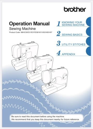Brother CE8080 CE8080PRW Operation Manual User Guide Instructions Reprinted Copy