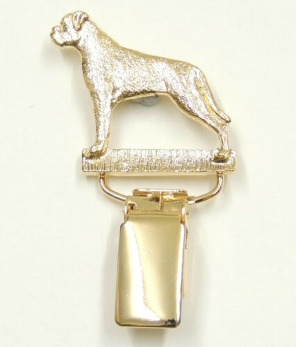 Boxer Dog Uncropped In Silver or Gold with Tail Show Ring Clip//Number Holder