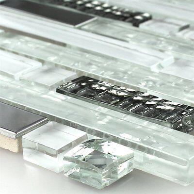 Klarglas Edelstahl Metall Mosaik Fliese Weiss Diamant