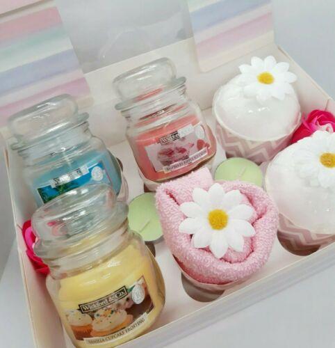Ladies Cupcake Hamper Gift Set Candles Bath Bomb Christmas Birthday Present Box