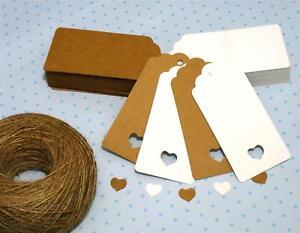 10-25-50-100-Scallop-Rectangular-Kraft-Gift-Tags-Paper-Card-Label-Free-Strings