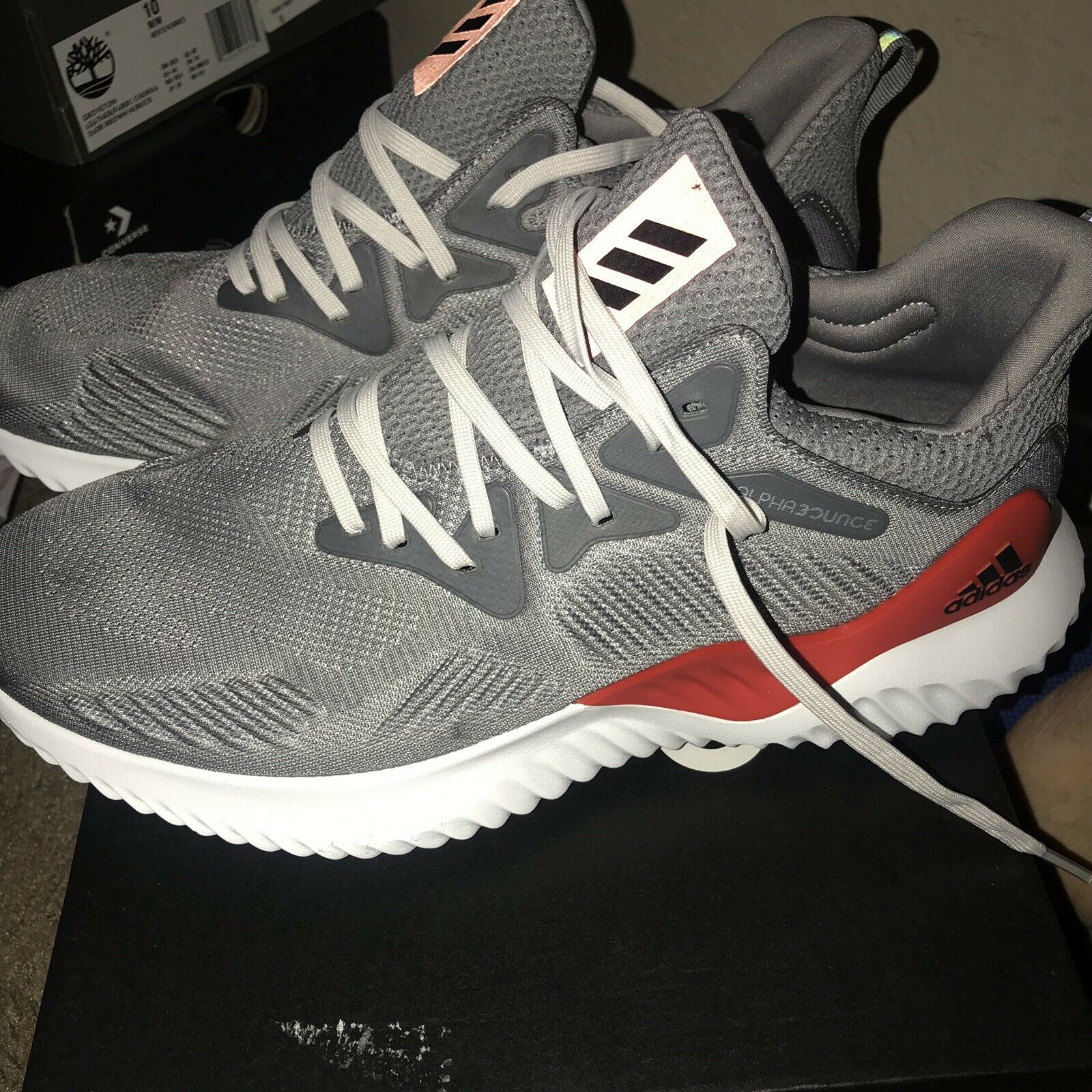 Men Adidas Alphabounce Beyond M Running shoes Size 10 grey boost white red