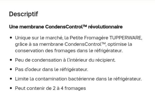 Tupperware neuve petite fromagere cave a fromage