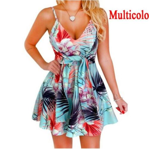 Womens Strappy Floral Mini Dress Sleeveless Holiday Summer V Neck Vest Sundress