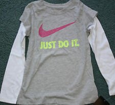 item 5 NWT Nike Girls Size 6 Gray White Pink Neon Yellow JUST DO IT Long  Sleeve Shirt -NWT Nike Girls Size 6 Gray White Pink Neon Yellow JUST DO IT  Long ... c9dce2524
