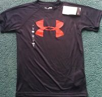 Boys Under Armour Xl Black/red Big Logo Shirt Yxl