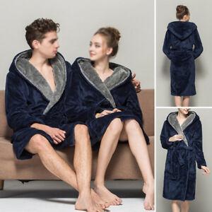 a5a6a5dd0b Women Men Long Sleepwear Robes Shawl Collar Soft Fleece Bathrobe Spa ...