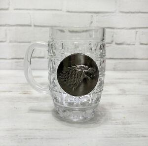 Stark-wolf-logo-beer-half-pint-glass-with-metal-logo-1pcs