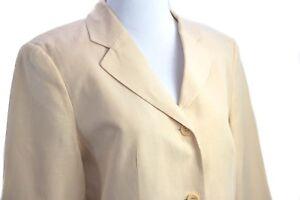 Talbots-Women-039-s-Button-Up-Beige-Blazer-Jacket-Pockets-Size-8-Silk-Linen