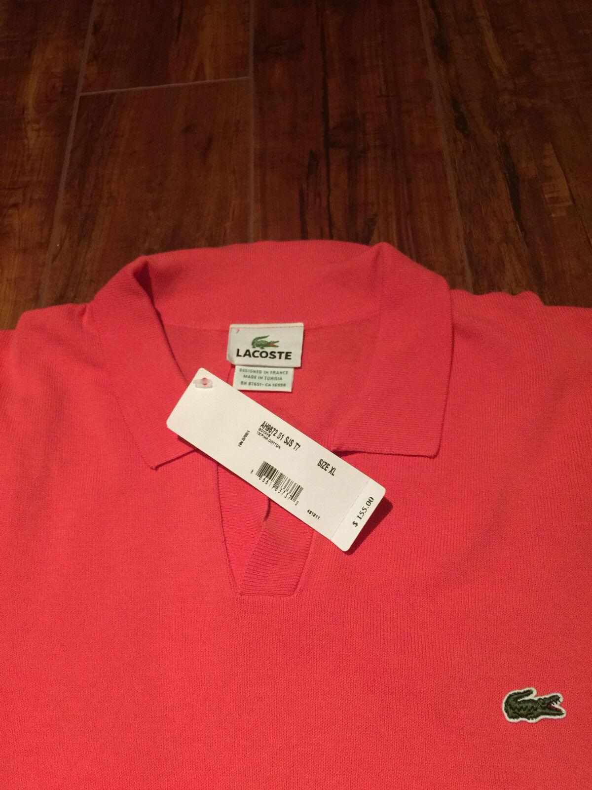 NWT Authentic 155 LACOSTE  Herren 100% Pima Cotton Orange LS Sweater -Größe 7 (XL)