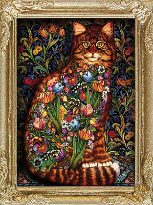 STAINED GLASS CAT Dollhouse Picture -FRAMED Art - MADE IN AMERICA. FAST DELIVERY