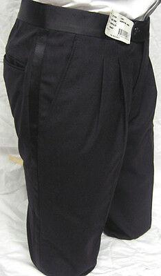 Waist Size 39 Long New Mens Black 100% Wool Tuxedo Formal Modern Pant Trousers