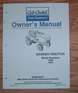 cub cadet models 1440 operators manual ebay rh ebay com 1641 Cub Cadet Problems cub cadet 1641 parts manual