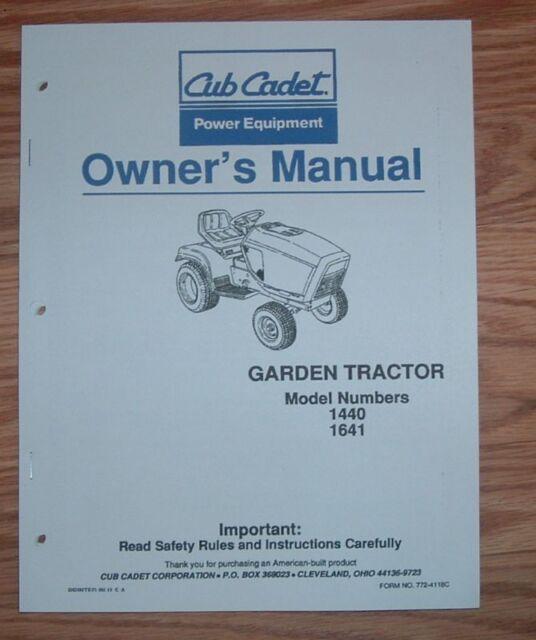 cub cadet model 1440 1t41 owners operators manual ebay rh ebay com Cub Cadet 125 Parts Cub Cadet Snowblower Parts Diagrams