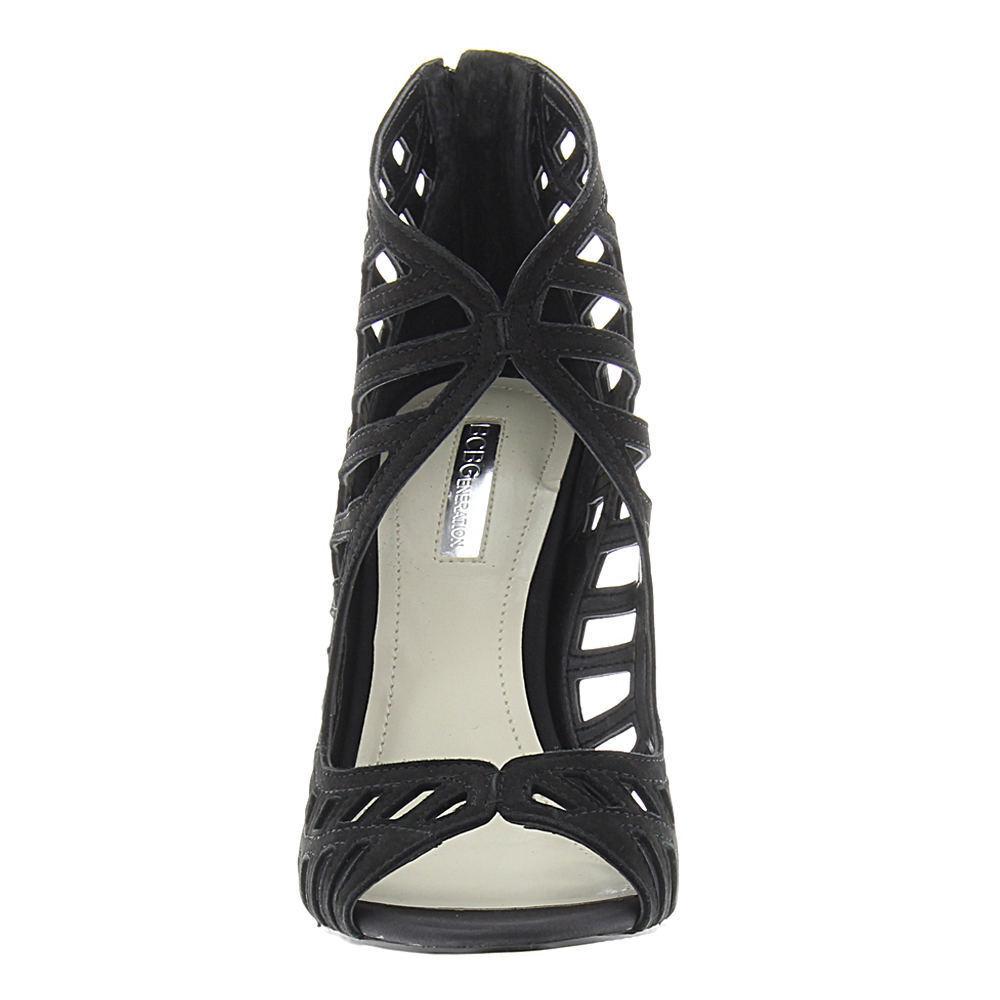 BCBGeneration Drita 7 Black Nubuck Leather Back Zipper Stiletto Stiletto Stiletto Sandal New 12ab32